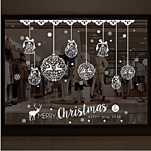 Christmas Shop Window Decoration Wall  Removable Stickers Christmas Bells Deer