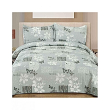 3 Piece Bed Cover Set – Queen Size  –   Grey Flower