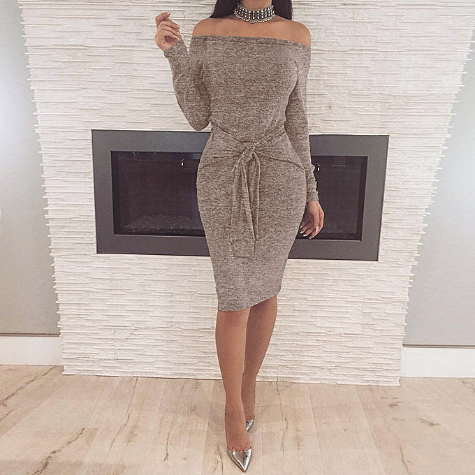 341a02790b5b jiahsyc store Sexy Women Winter Bodycon Off The Shoulder Long Sleeve  Evening Party Mini Dress -