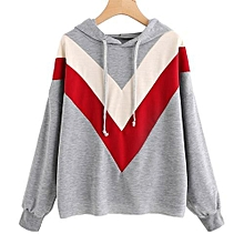 Hequeen Women's Fashion Triangle Stitching Casual Sweater Long Sleeve Antumn Hoodies For Girls