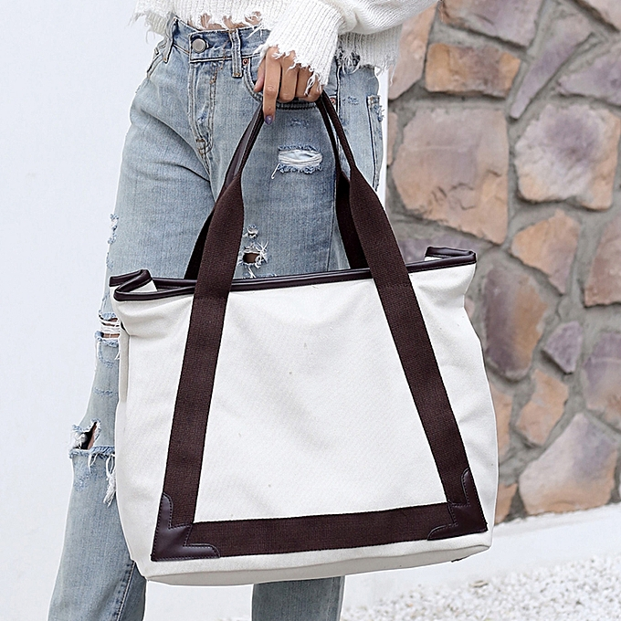 ... Fashion Women Large Capacity Canvas Casual Tote Shoulder Bag Vintage Pu  Leather Durable Handbags ... f23dd56182