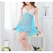 Women Sexy Low-cut See Through Sleepwear Dress Underwear G-String Thongs Set-Sky Blue.,