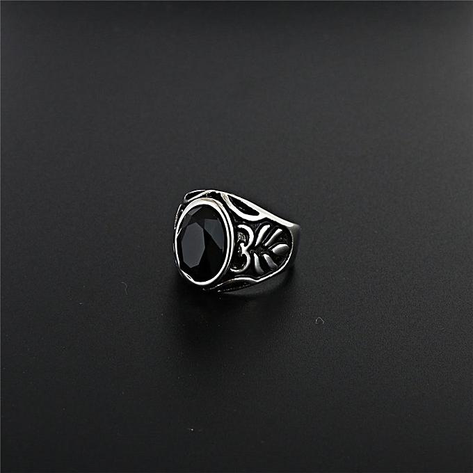 Sell well black precious stone ring of punk rock'n roll blos