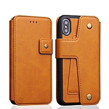Cowhide Texture Magnetic Absorption Detachable Horizontal Flip Leather Case for iPhone X / XS, with Holder & Card Slots & Wallet (Yellow)