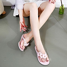 New Fashion Lady's Camellia Crystal Flat Sandals & Flip Flops (Pink)