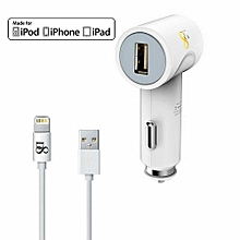 D8 Apple MFI Certified 2 In 1 Combo Car Charger Kits
