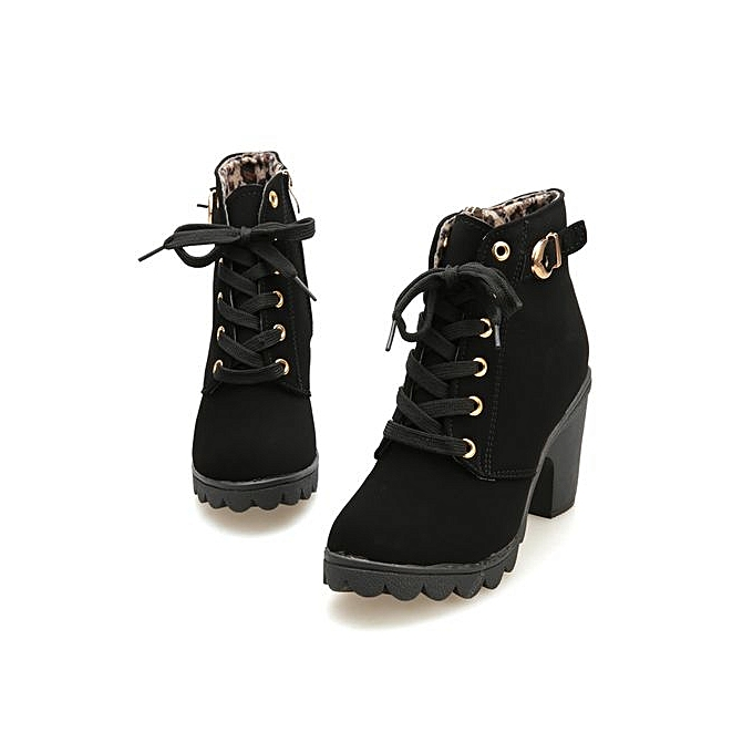 061ef66af52c Womens Fashion High Heel Lace Up Ankle Boots Ladies Buckle Platform Shoes- Black -CN