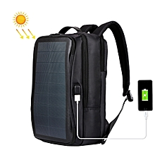 Solar Panel Backpack Laptop Bag with Handle and USB Charging Port(Black)
