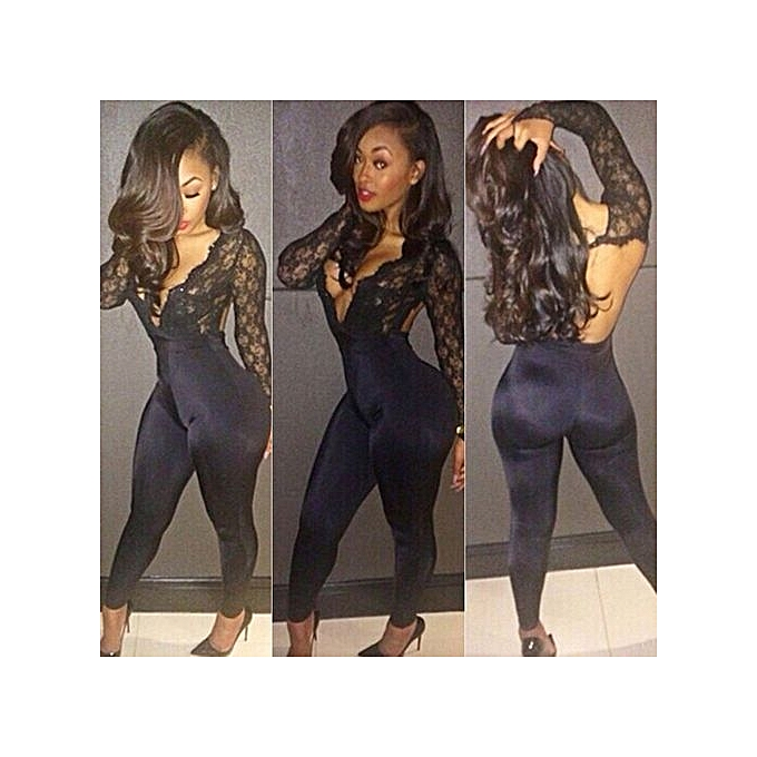 ... Sexy Plunging Neck Long Sleeve See-Through Backless Women s Jumpsuit -  BLACK ... c0d108dbb