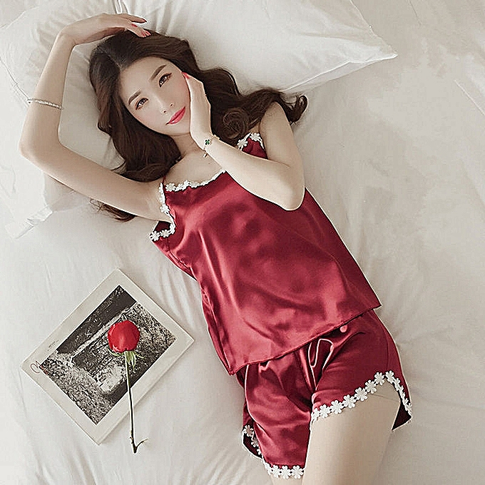 7375a4af6c Fashion Pajamas Women Silk Nightgown Sleepwear Sleepshirt @ Best ...