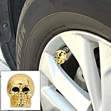 4 PCS Universal Skull Style Antirust Copper Core  Gas Cap Mouthpiece Cover Gas Cap Tire Cap Car Motor Bicycle Tire Valve Caps(Gold)