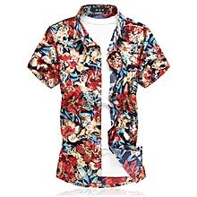 Print Men's Short Sleeve Shirts Turn-down Shirts (Red)