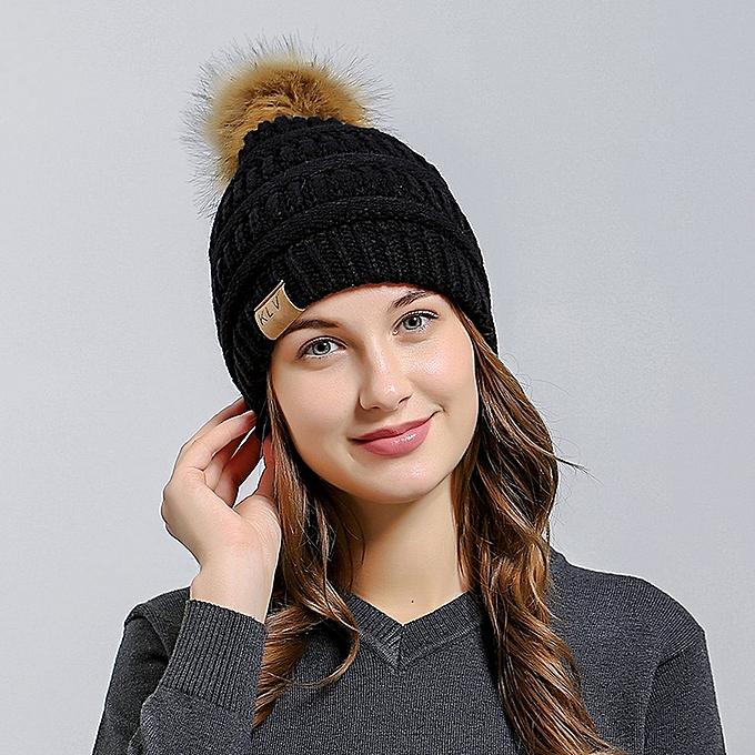 2004205467b52 Fashion Women Ball Cap Pom Poms Hat Girl Knitted Beanies Thick Ski ...