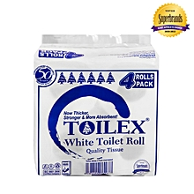 2 Ply Unwrapped White Toilet Tissue - 4 Pack