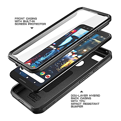 the best attitude 8acc6 6a20b Supcase Google Pixel 3 Case Full-body Rugged Clip Holster Case With Screen  Protector (Black)