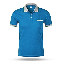 Best Sale Fashion Casual Men's Summer Breathable Short Sleeves Polo Shirts-Blue