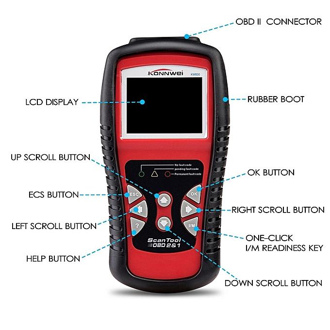 KW830 Car OBD2 Scanner,Automotive Diagnostic Scan Tool with Color Screen  OBD2 II EOBD Check Car Engine Light Fault Codes Reader Scanner By BDZ