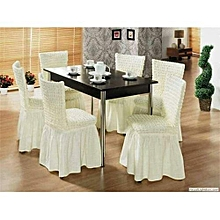 Dining Seat Covers –6pcs  – Cream white
