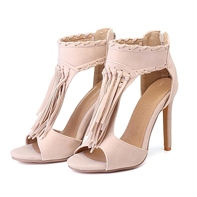 e8201a96b Women Sandals Ankle Tassels Strappy Summer Peep Toe Stiletto High Heels  Casual Shoes-EU