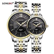 [2 Pack] 80079 Leisure Couple Watch Roman Numral Dial Date Calendar Men Women Watches Stainless Steel Strap Wristwatch - Gold