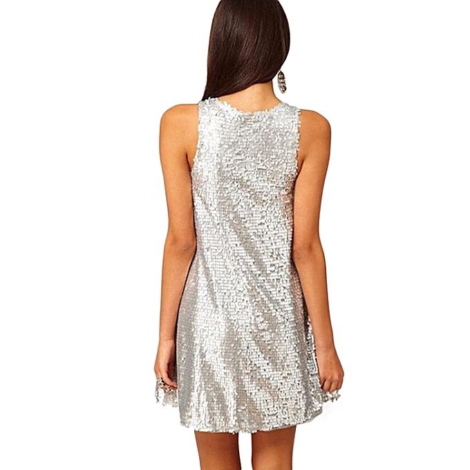 093ab7a58cc6 ... Sexy Women Silver Sequin Swing Dress O Neck Sleeveless 1920s Evening  Party Club Mini Dress Silver ...