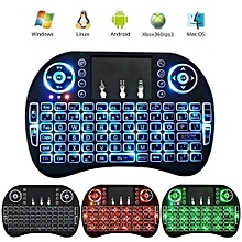 Wireless Mini Keyboard with Mouse Touchpad and Backlight - Black