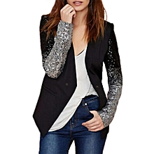 Womens Office Black Slim Sequins Blazer Long Sleeve Splicing Jacket Coat Suit Top Outwear Cardigan