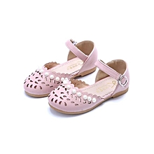 Girl Petal Hollowed Out Shoes Pearl Sandals