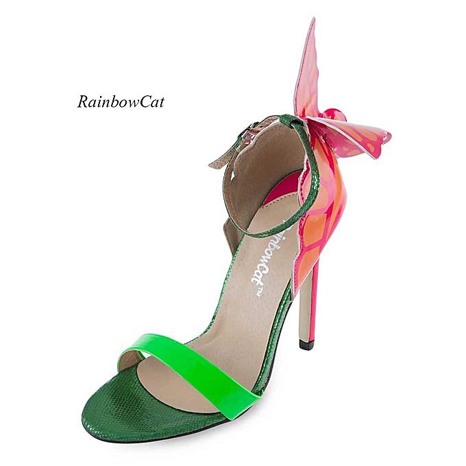 d193ddbe413d Rainbow Sexy Open Toe Ladies High Heel Sandals-GREEN   Best Price ...