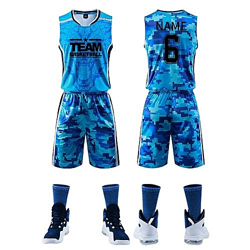 8adce3c9cb8f Longo Fashion Customized Blank Kids Boy And Men s Casual Basketball Team  Sports Jersey Uniform-Blue