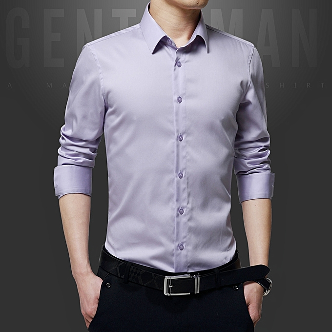 37a77846bcc Luxury Cotton Slim Fit Office Formal Shirts Men Business Wedding Shirts  (Voilet)