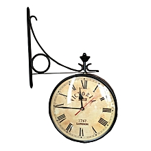 Double Sided Victorian Railway Clock - 40cm - Black