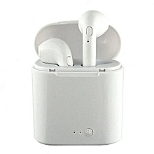i7 Twin Bluetooth Wireless Music Airpods Stereo Earphone with Mic and Charging Pod - White