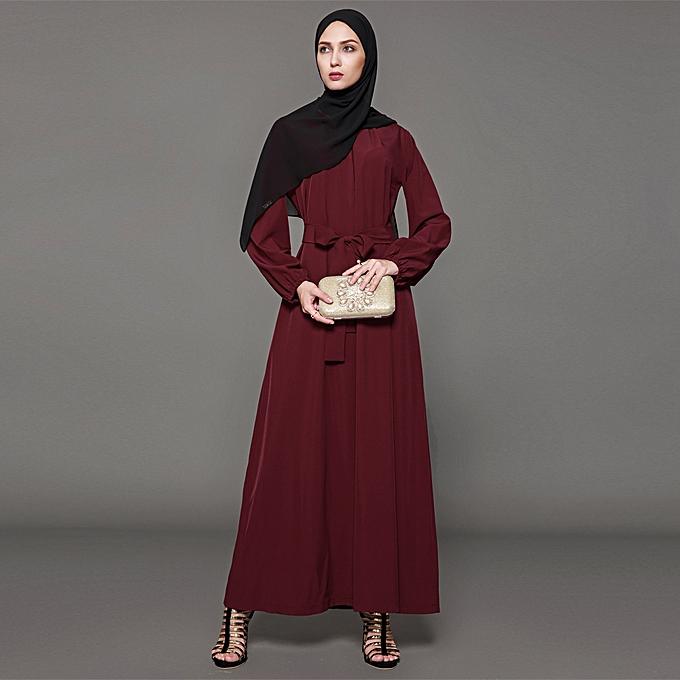 87f844e739758 Women Muslim Dress Solid Color Long Sleeve Abaya Kaftan Islamic Arab Robe  Maxi Long Belted Dress Burgundy
