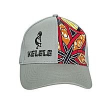 Light Grey And Red Baseball / Sports Hat With Kelele Color On Panel