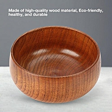 Retro Style Natural Wood Round Bowl Rice Soup Container For Home Dining/Restaurant