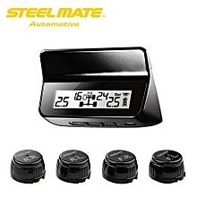 ET-640AE DIY TPMS Car Tire Pressure Monitoring System With LCD Display 4 Valve-cap Sensors Bar PSI Unit