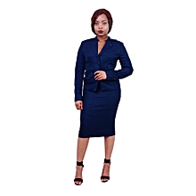 Long-sleeved Official/Interview Skirt Suit - Teal Blue