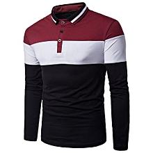 Color Block Rib Turndown Collar Panel Design T-shirt - RED