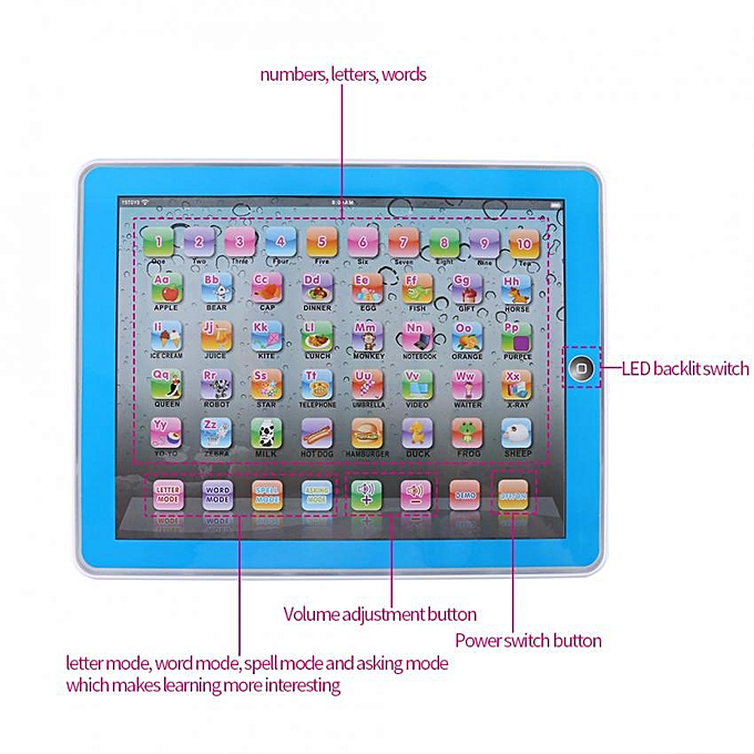 Baby Kids Toddler Learning English Machine Tablet Early Educational Study  Toy (Blue)
