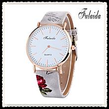 Lady  Leather Wrist Watch Fulaida  Printing Pattern Fashion Women Colored PU Leather Watch -Gray