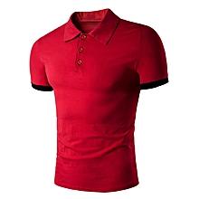 Men's Panel Design Polo T-Shirt - Red