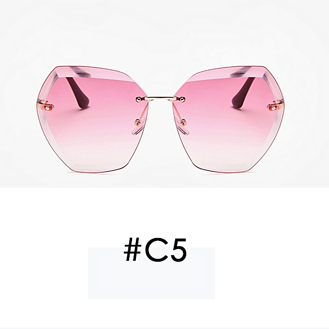 c227bc570 Luxury Vintage Rimless sunglasses women Brand Designer Oversized sunglasses  Female sun glasses for lady Mirror Shades