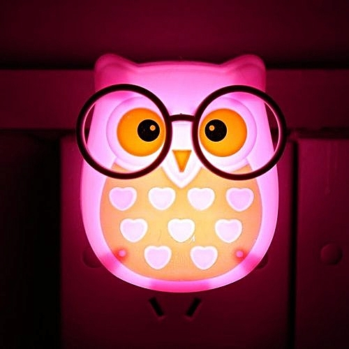 Generic Portable Cute Owl Shape LED Night Light Auto-Control Sensor Lamp Kids Bedroom Wall Light (Pink)