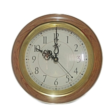 Round Wall clock - wood ivory