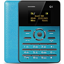 Q1 1.0 inch Ultra-thin Card Phone FM Audio Player Sound Recorder Calendar Calculator-BLUE