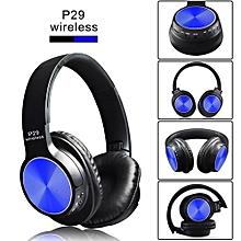 Wireless Metal Bluetooth 4.2 Headset Earphone  Luxury Version P29 - Blue