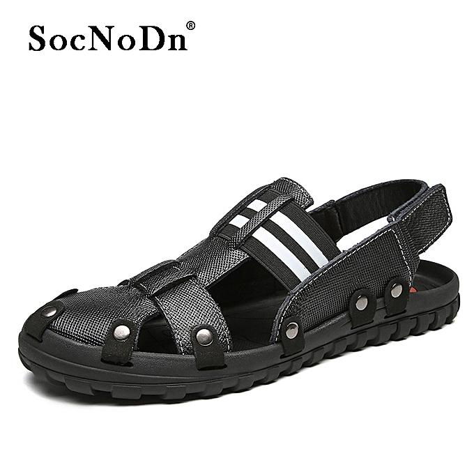 46d21263b SocNoDn Men Fashion Trend Casual Summer Beach Sandals Shoes Black ...