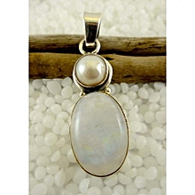 925'Sterling Silver Moonstone with Pearl Pendant