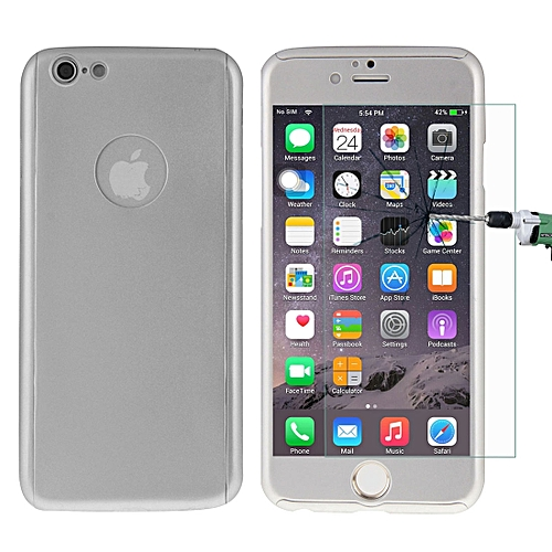 huge discount 3326d 173c3 For iPhone 6 Plus Ultra-slim 360 Degrees Full Protection Solid Color  Combination Case with Exclusive Tempered Glass Film (Silver)